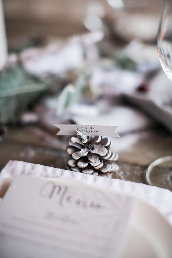 Pine Cone Place Card, Dream Events & Catering, Jen & Chris Creed