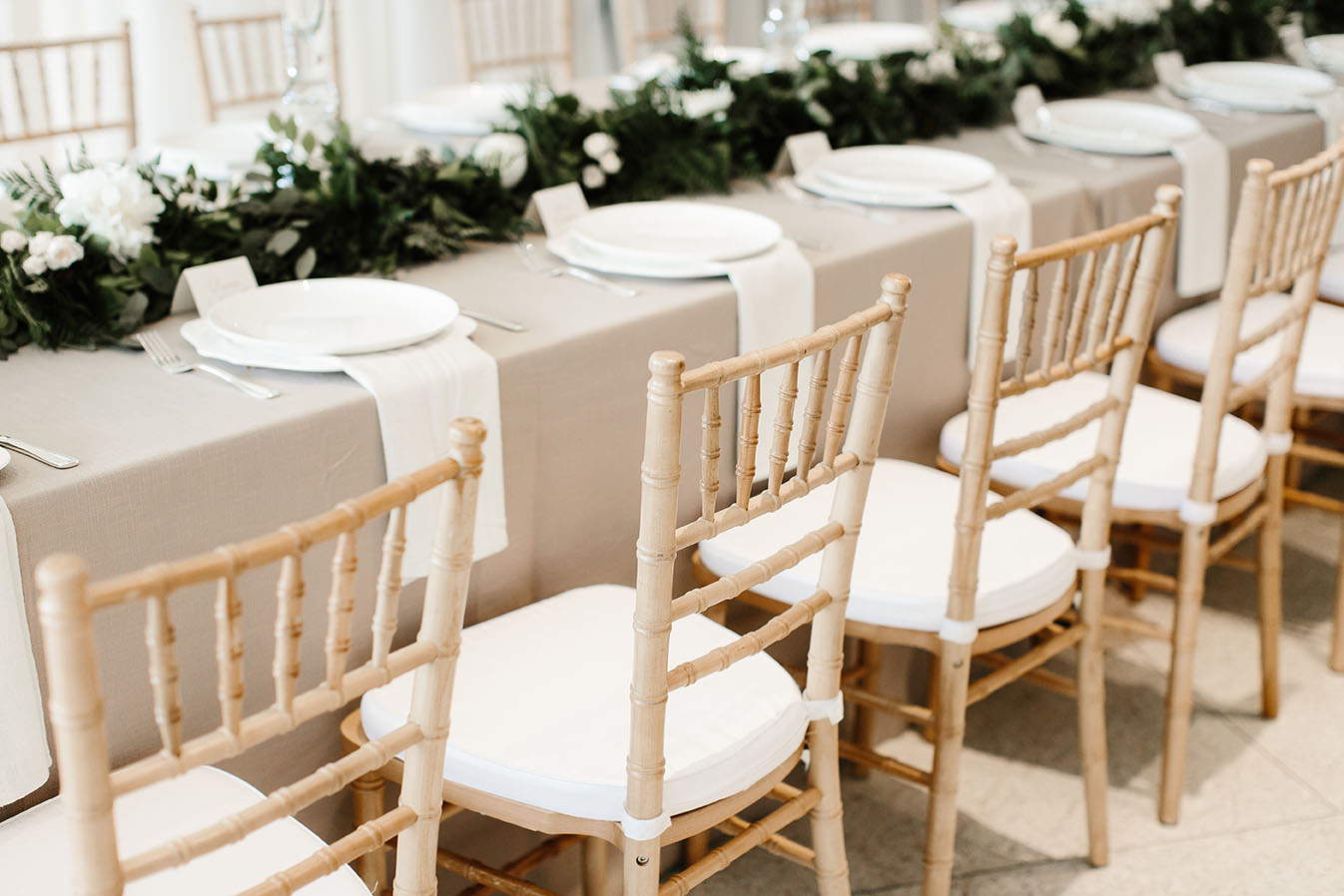 Neutral Wedding Reception Table Setting