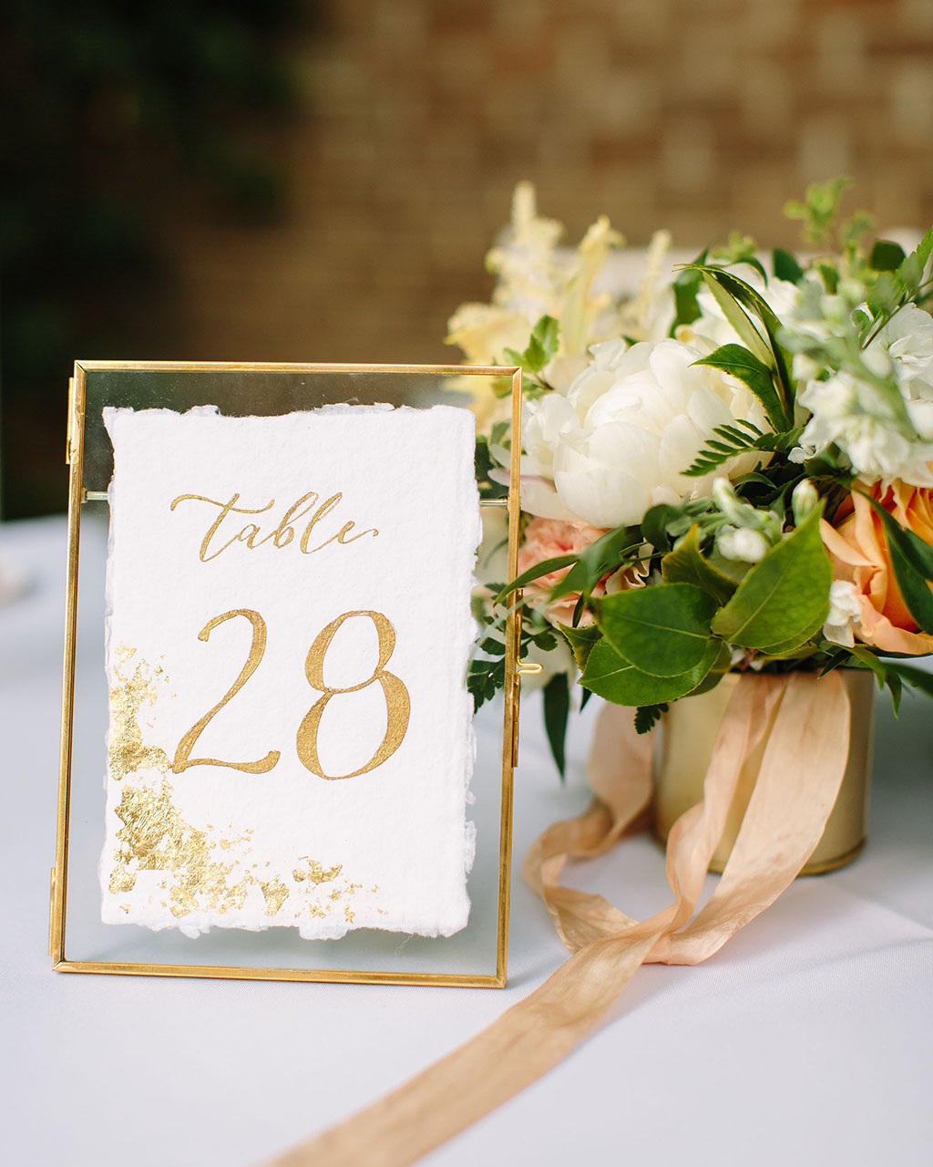 Gold Calligraphed Table Numbers