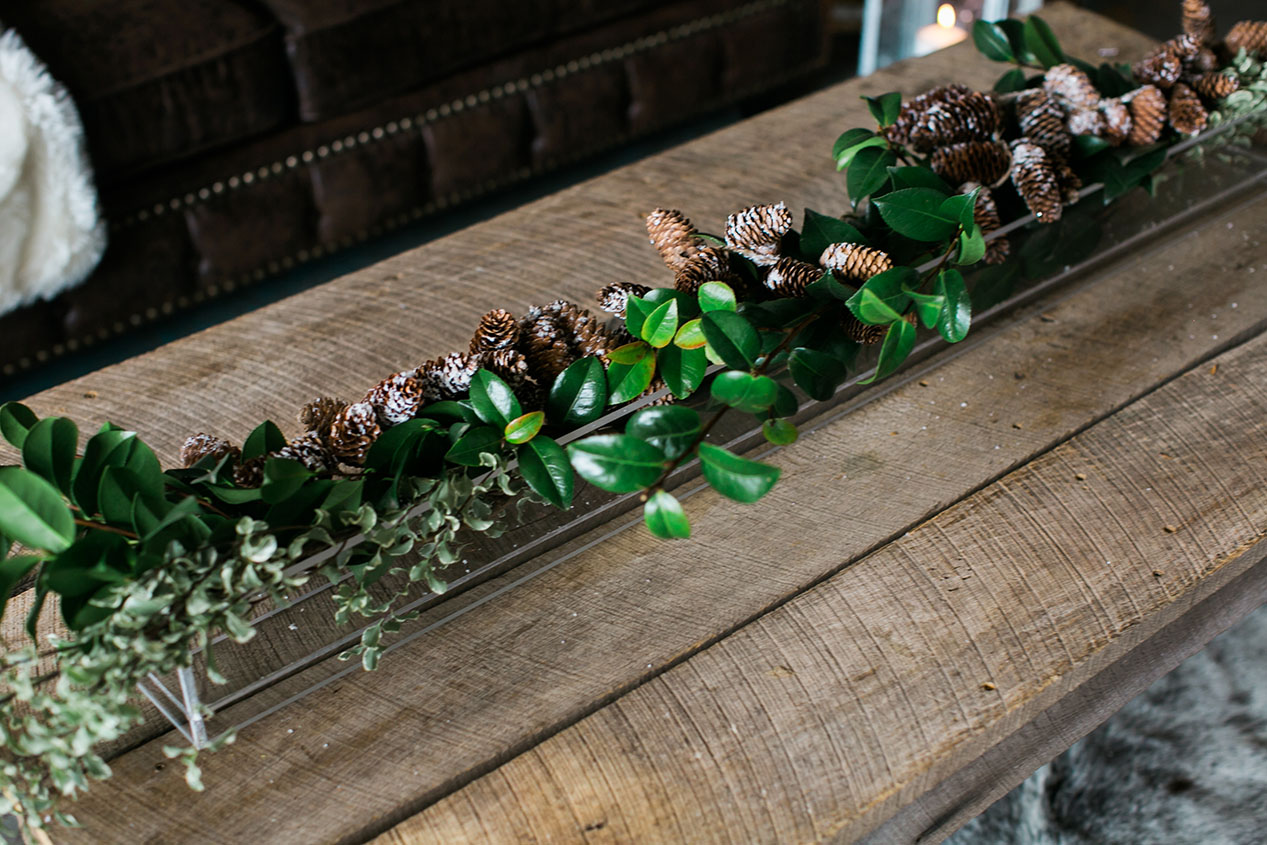Pinecone and Greenery Table Runner