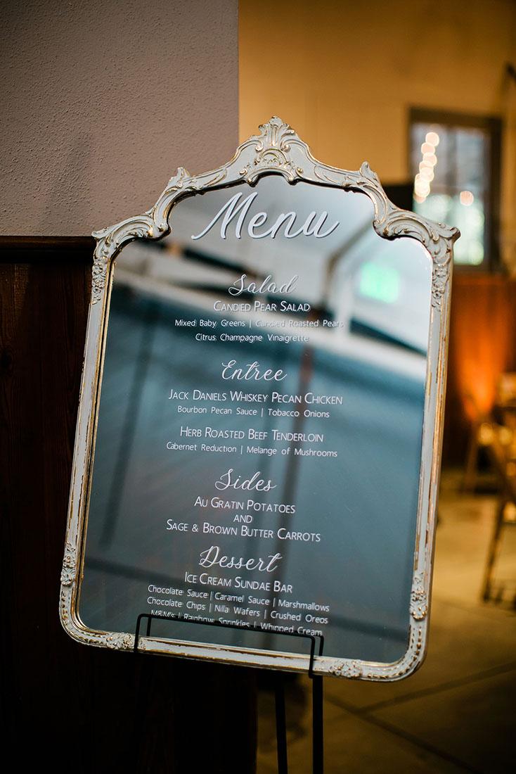 Dinner Menu Mirror Sign