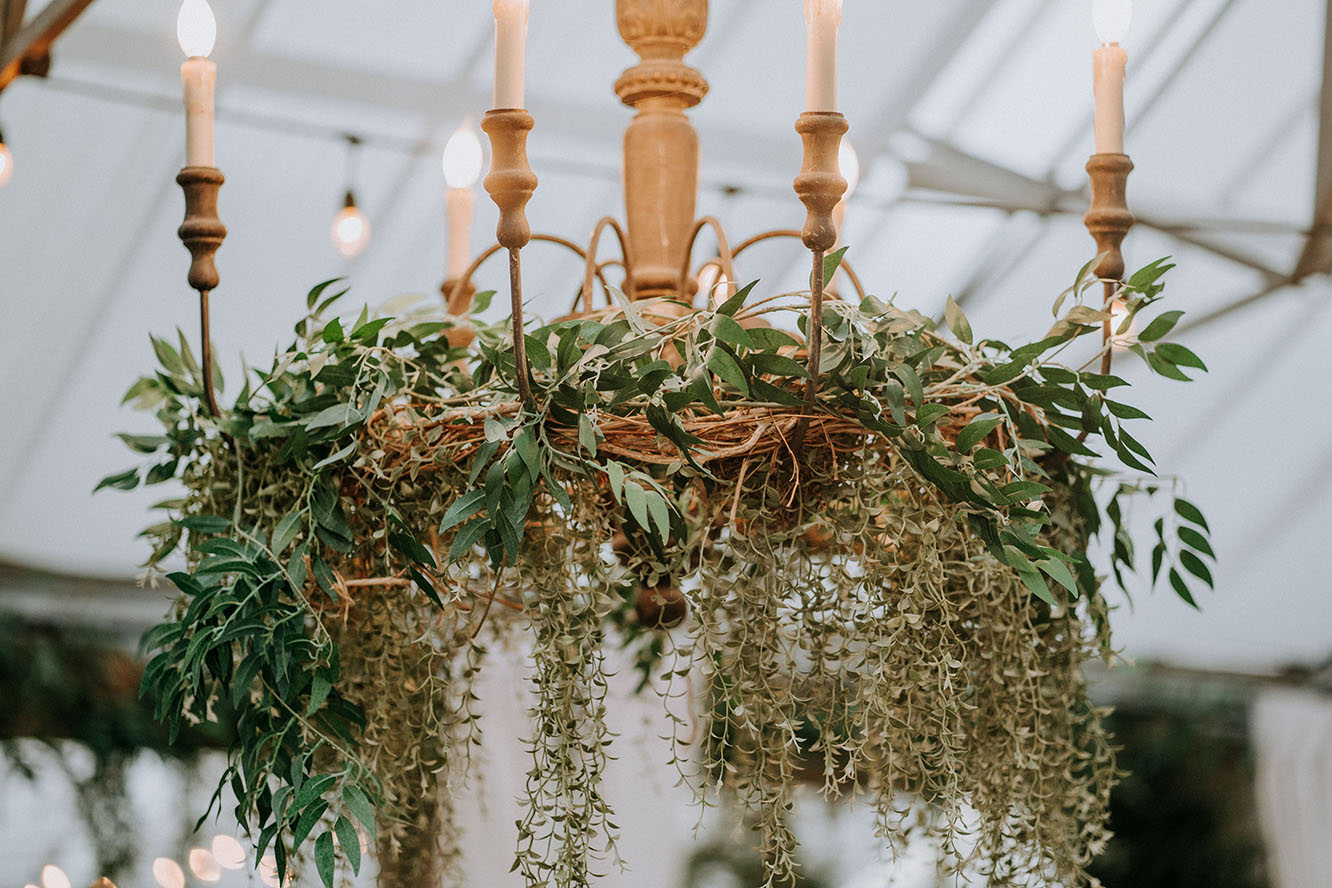 Rustic Wedding Chandelier Greenery