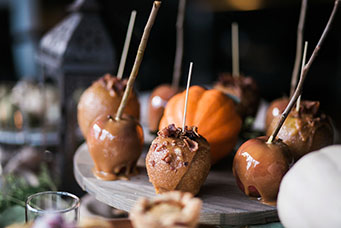 Caramel Apples With Fall Display