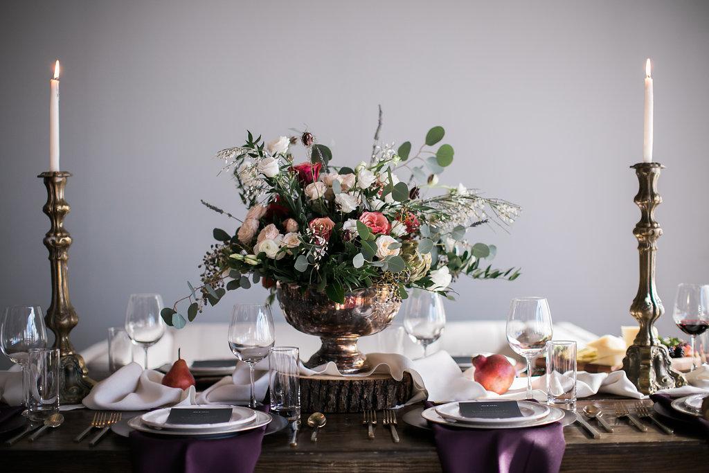 Flower Centerpiece on Tablescape